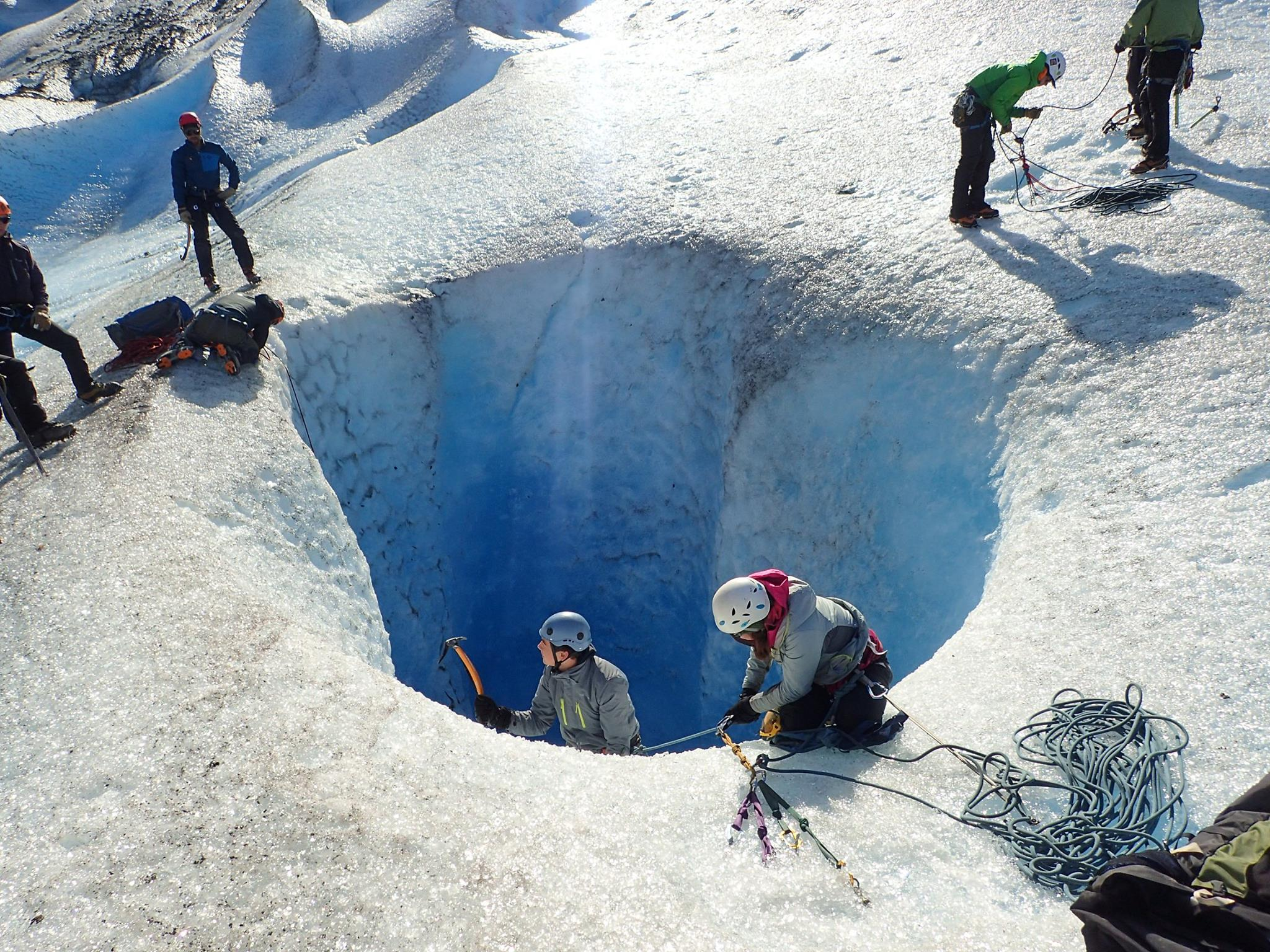 Scouts explore fascinating features formed by the glacier