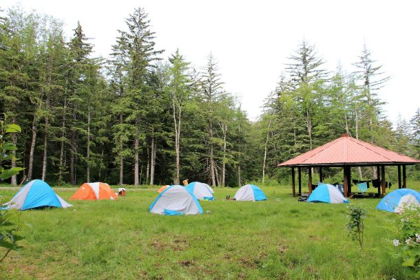 Scouts set up camp at the Chilkoot High Adventure Basecamp between adventures
